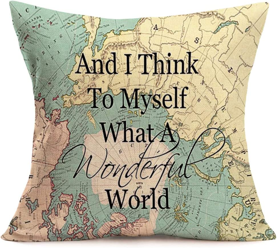 Smilyard World Map Pillow Case and I Think to Myself What A Wonderful World Words Pillowcase Cotton Linen Pillow Covers Square18X18 Inch Home Sofa Moving Gift