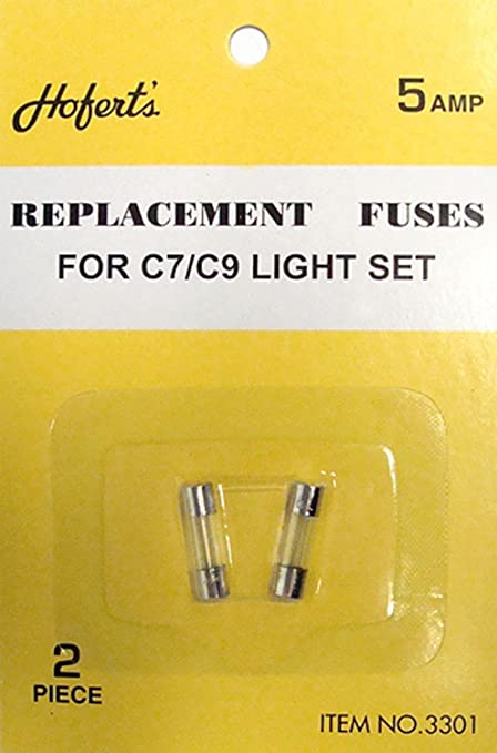 pack of 2 replacement fuses for c7 or c9 christmas lights 5 amps