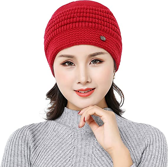 85d7dfb541a Ababalaya Women s Winter Warm Thicken Knitted Skull Cap Grandmother Fleece  Cable Beanie
