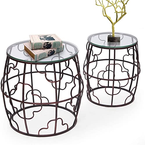 Joveco Side End Coffee Table Set of 2 Indoor Outdoor Decorative Nightstands 2 Pieces Drum End Table