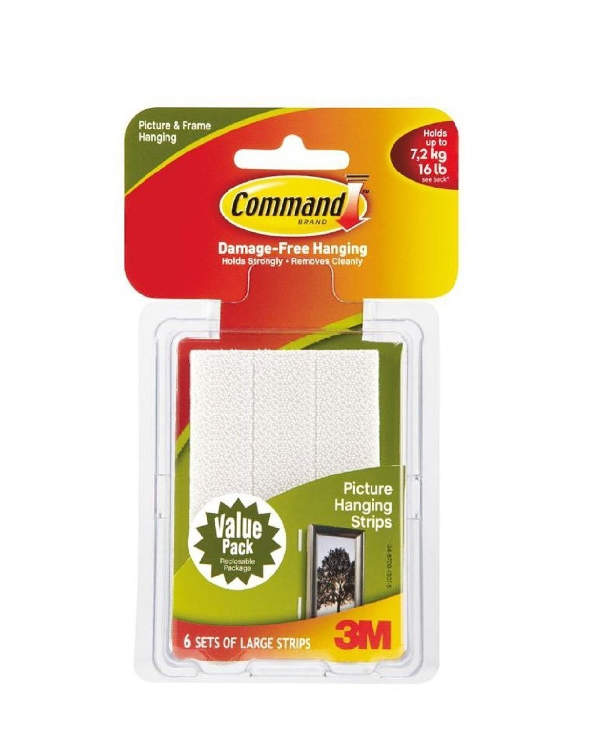 Command Large Picture-hanging Strips, White, 24 Strips