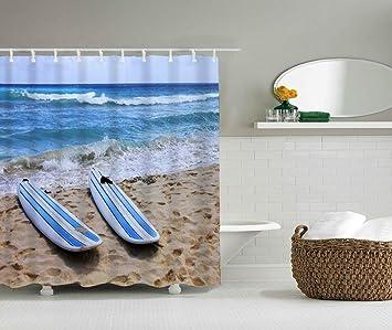 YLXINGMU Cortina De Ducha 3D Resistente Al Moho Tabla De Surf Baño Familiar Poliéster 180Cm(W)×200Cm(H): Amazon.es: Hogar