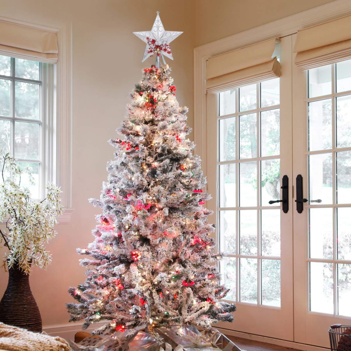 OSALADI 2 pezzi Puntale per Albero di Natale con Campana Stella Albero di Natale in Plastica Topper Albero di Natale Addobbi Natalizia