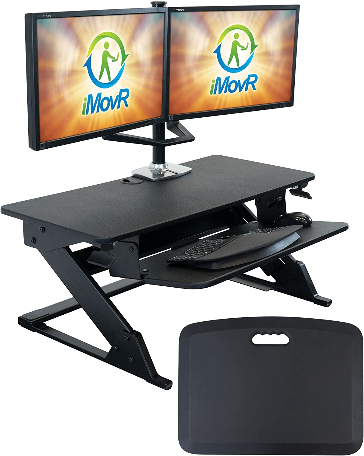 """iMovR ZipLift+ Classic 35"""" Standing Desk Converter with Ergonomic Tilting Keyboard Tray in Black with EverMat Standing Mat"""