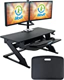 iMovR ZipLift+ Standing Desk Converter with Ergonomic Tilting Keyboard Tray in Black with EverMat Portable Standing Mat