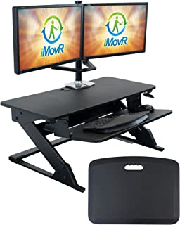 """product image for iMovR ZipLift+ Classic 35"""" Standing Desk Converter with Ergonomic Tilting Keyboard Tray in Black with EverMat Standing Mat"""