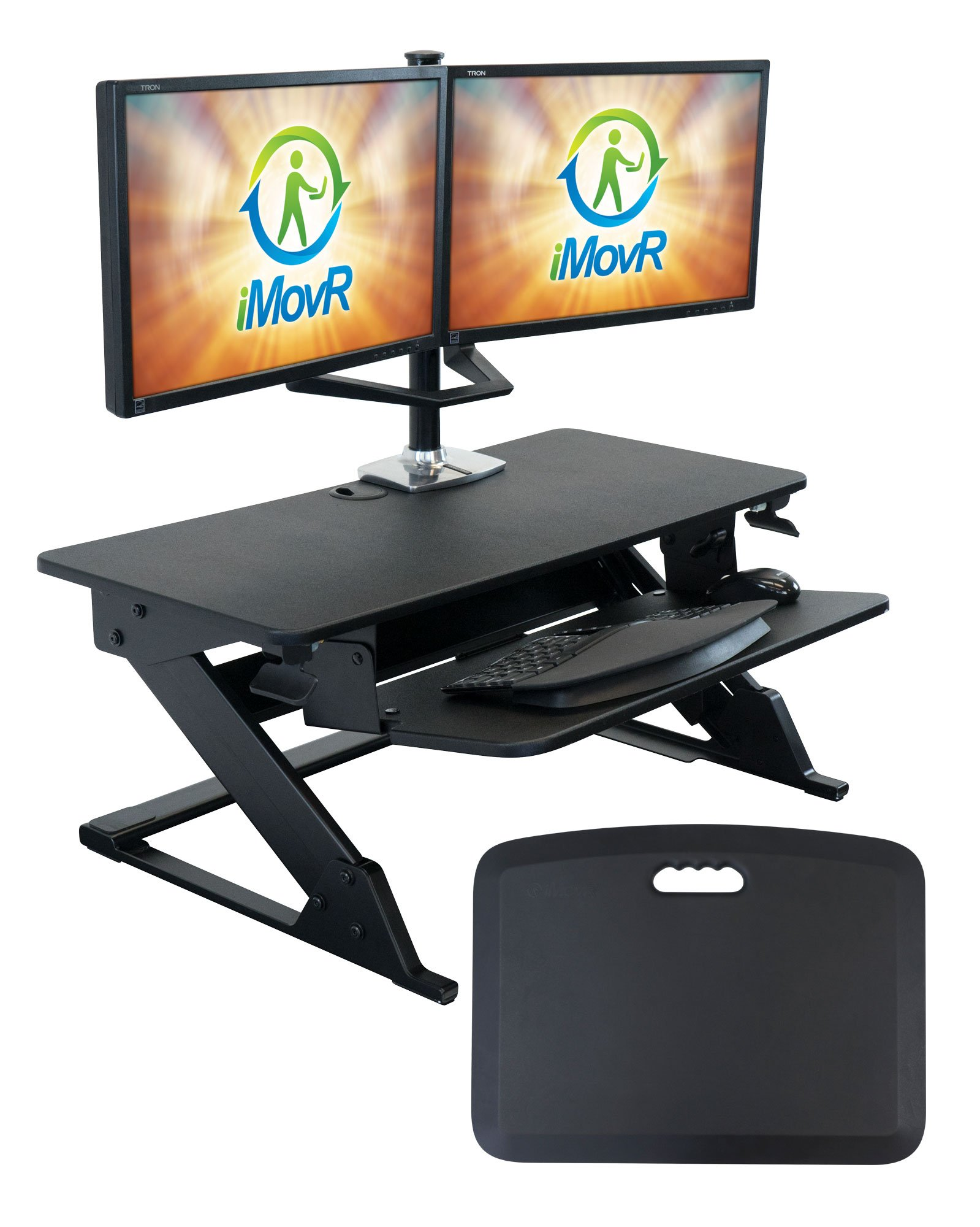 iMovR ZipLift+ Standing Desk Converter with Ergonomic Tilting Keyboard Tray, Black, 35''