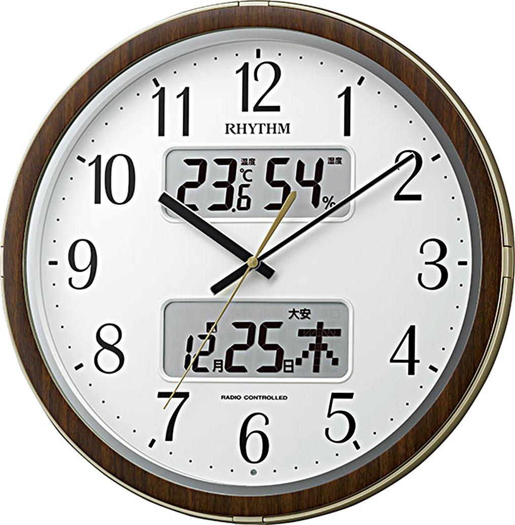 リズム時計 掛け時計 電波 アナログ フィットウェーブリブDX 温度  湿度 計付き カレンダー 六曜表示 茶 (木目仕上げ) RHYTHM 4FYA09SR18 B01CZIP0H2