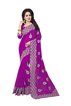 PinkCityCreations Indian Sarees For Women Party Wear Designer Black Color In Majenta 60 GM Georgette
