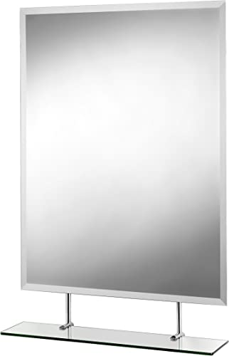 Croydex Helton Beveled Edge Wall Mirror 38-Inch x 26-Inch with Under Mirror Shelf and Hang N Lock Fitting System