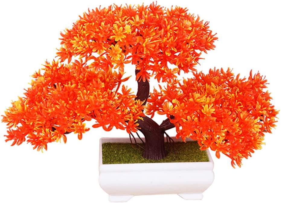 Frjjthchy Mini Artificial Bonsai Tree Plants with Plastic Cement Pots for Home Office Décor (Orange)