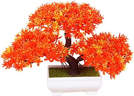 Amazon Com Frjjthchy Mini Artificial Bonsai Tree Plants With Plastic Cement Pots For Home Office Decor Orange Home Kitchen