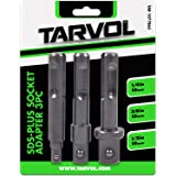 """Socket Drill Adapter & Extension Set (3 DIFFERENT SIZES 1/4"""", 3/8"""", and 1/2"""") Impact Grade SDS Plus Compatible Hex Adapter - Convert Your Drill into a High Speed Nut Driver"""