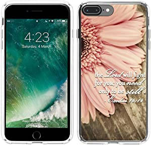 8 Plus Case Christian Sayings,7 Plus Case Bible Verses,Hungo Protective Cover Compatible with iPhone 7 Plus / 8 Plus The Lord Will Fight for You Only Need to Be Still
