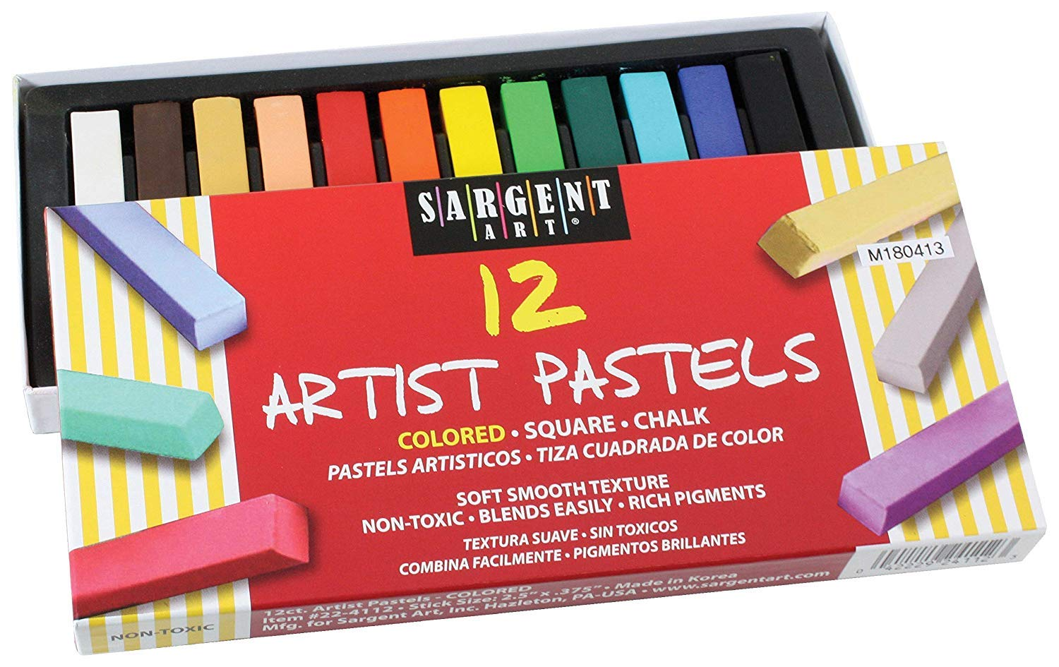 Sargent Art 22-4112 Colored Square Chalk Pastels, 12 Count (3 Pack) by Sargent Art