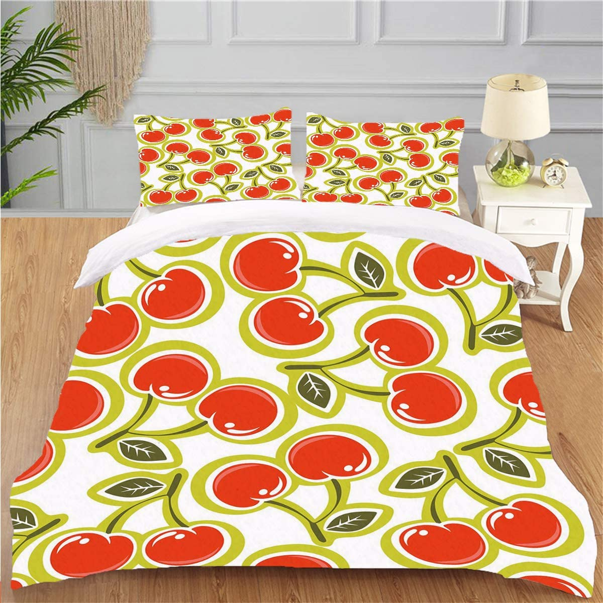 OTTOSUN Bedding Personality 3 Piece Duvet Cover Set Fruit Sweet Yummy Ornate Cherry and Leaves Pattern Fresh Food Fun Art Apple Green Red White Soft Breathable Home Warm Duvet Comforter Cover,Full