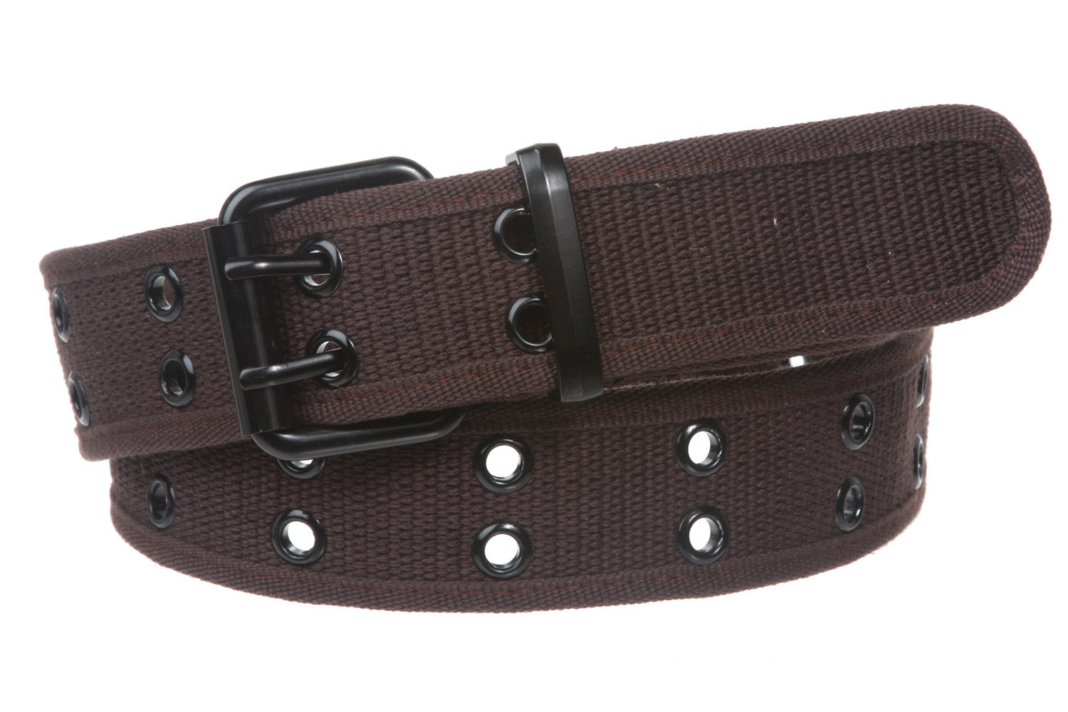 Double Hole Grommets Canvas Web Belt, Brown | m (33''~35'') by beltiscool (Image #1)