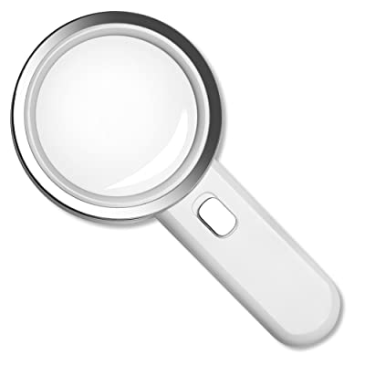 Fancii LED Magnifying Glass with Light, 5X High Power Glass Lens - Large 3.5 Inches Distortion-Free Illuminated Magnifier: Office Products