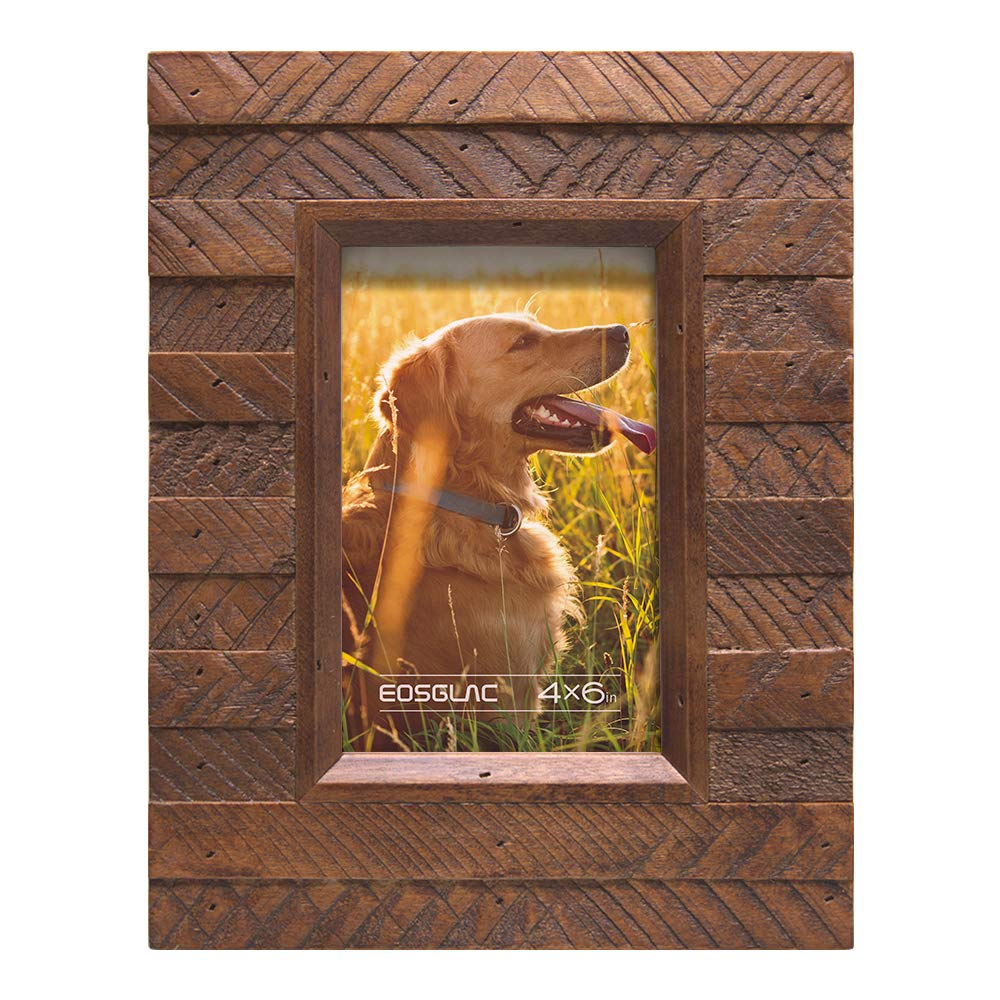 EosGlac Wooden Picture Frame 4x6 inch, Wood Plank Design with Rustic Brown Finish, Wall Mounting or Tabletop Display, HandCrafted Photo Frame(4x6, Brown)