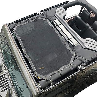 cartaoo Sunshade Mesh UV Protection Bikini Top Cover Net for 2007-2020 Jeep Wrangler JK JKU 4-Door Version (JK 2-Door / 4-Door No Pattern): Automotive