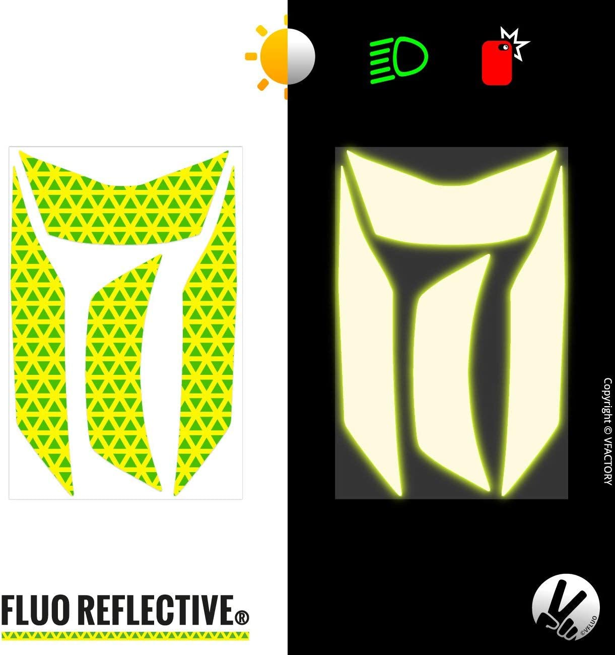 VFLUO EXO510AIR. Black retro reflective 4 stickers kit made for SCORPION EXO510AIR and adaptable to all helmets 3M Technology Set of 2