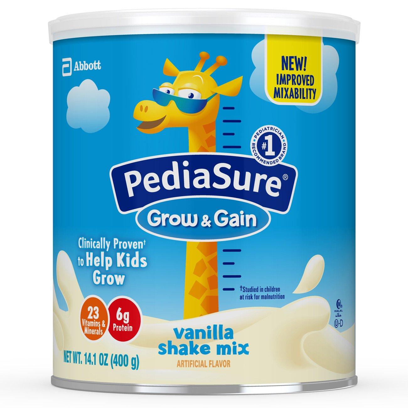 PediaSure Grow & Gain Non-GMO Vanilla Shake Mix Powder, Nutrition Shake for Kids, 14.1 oz, 3 Count