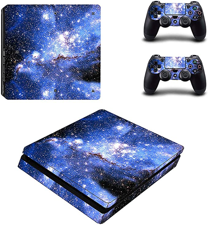 YISHO PS4 Slim Skin Sticker Decal Vinyl for Playstation 4 Console and 2 Controllers PS4 Slim Skin Sticker 1