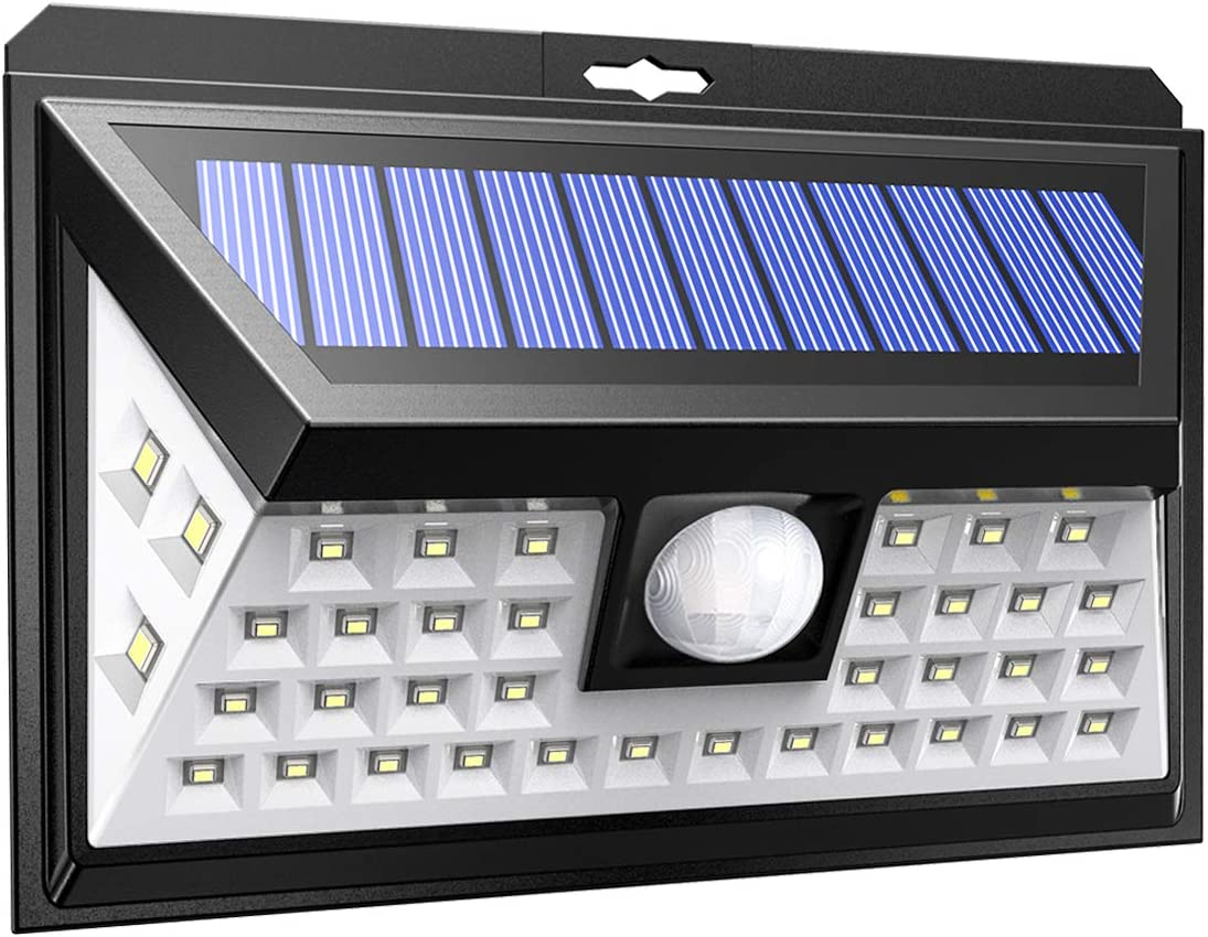 AMIR Solar Lights Outdoor, Wireless 40 LED Motion Sensor with 3 Optional Modes, IP65 Waterproof, 270 Wide Illumination Angle, Easy Install Security Lights for Driveway, Front Door, Yard etc.