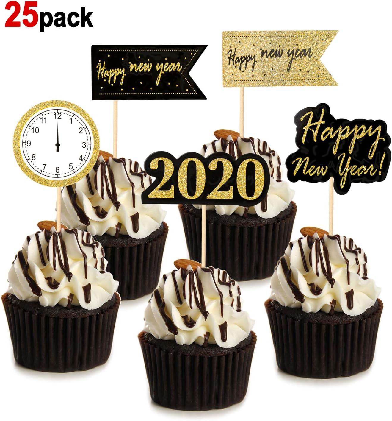HOWAF 25 Piezas Nochevieja 2020 decoración Feliz año Nuevo Fiesta Cupcake Toppers Tartas Decoración cumpleaños