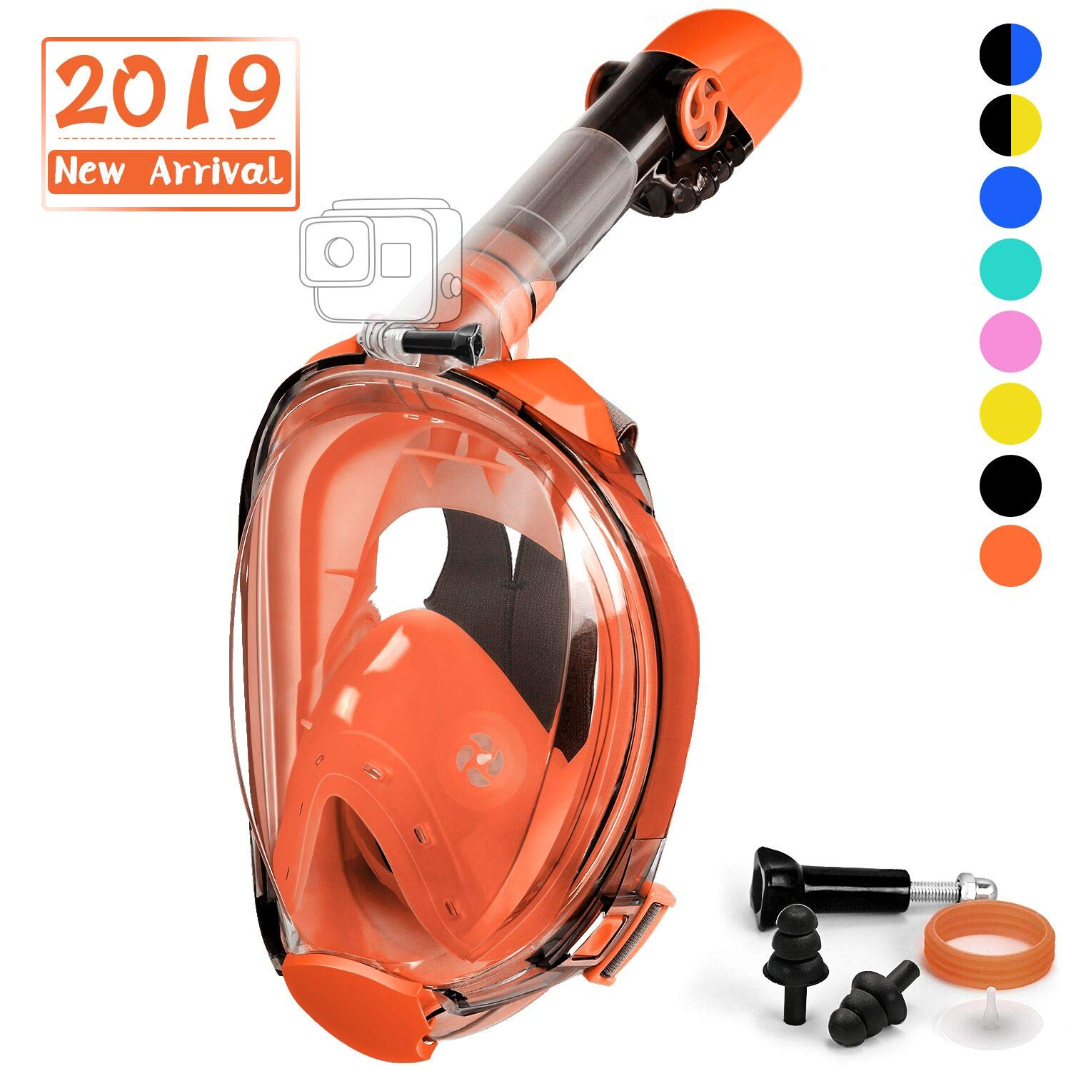 OUSPT Full Face Snorkel Mask, Snorkeling Mask with Detachable Camera Mount, 180° Large View Upgraded Dive Mask with Newest Breathing System, Dry Top Set Anti-Fog Anti-Leak (Orange, S/M) by OUSPT