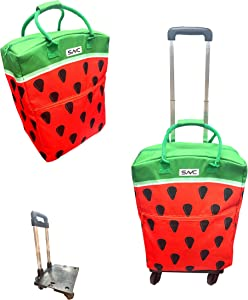 SAVC insulated shopping bag with wheels for Groceries & Food Delivery, Eco Friendly. Good for BBQ/Outdoors/Party/Picnic/Shopping/Supermarket. (Watermelon)
