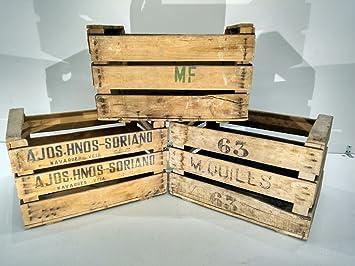 lote de cajas de madera fruta antiguas