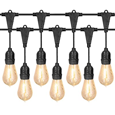 IDESION 42 FT Outdoor String Lights Led Patio String Lights Waterproof Edison Vintage Bulbs 10 Hanging Sockets, UL Listed Heavy-Duty Decorative Cafe Patio Lights for Bistro Garden Backyard : Garden & Outdoor
