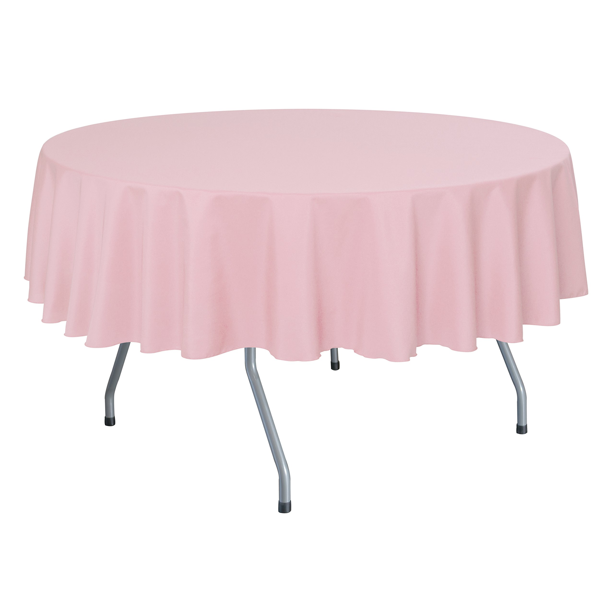 Ultimate Textile (10 Pack) 72-Inch Round Polyester Linen Tablecloth - for Wedding, Restaurant or Banquet use, Light Pink