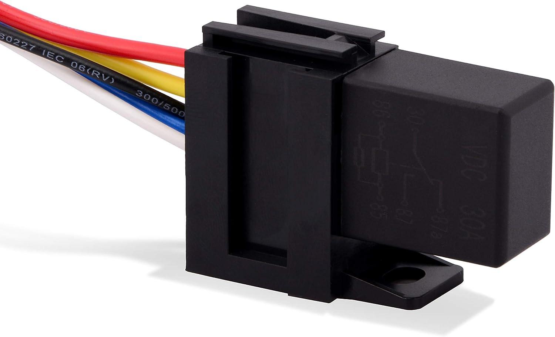 Ehdis 5 Pin 12VDC 30A SPDT Multi-Purpose Relay Heavy Duty Standard Relay Kit Pack of 2