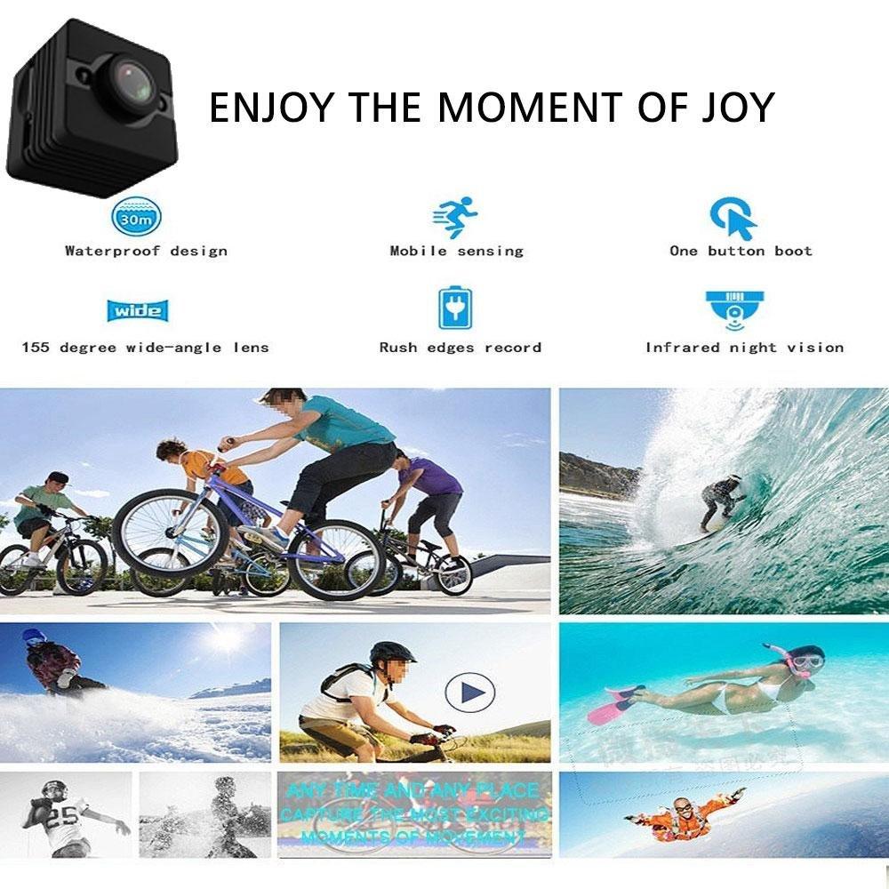 PAWACA Mini cámara impermeable SQ12 alta calidad. 1080P DV cámara de acción para deporte (esquí buceo esnórquel), coche, bicicleta, motocicleta.