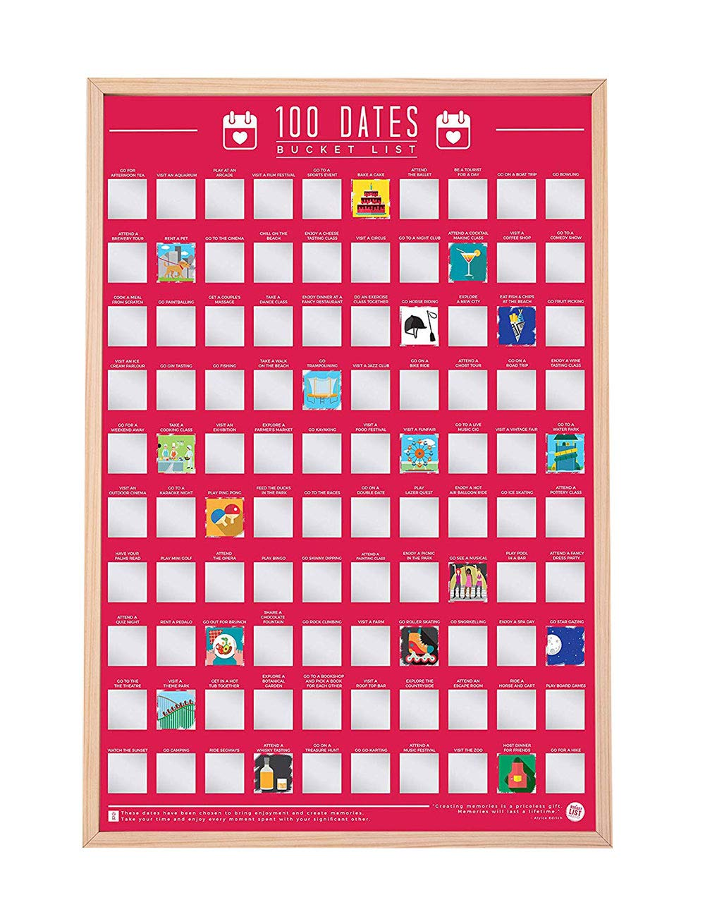 Gift Republic 100 Dates Scratch Bucket List Poster: Amazon co uk