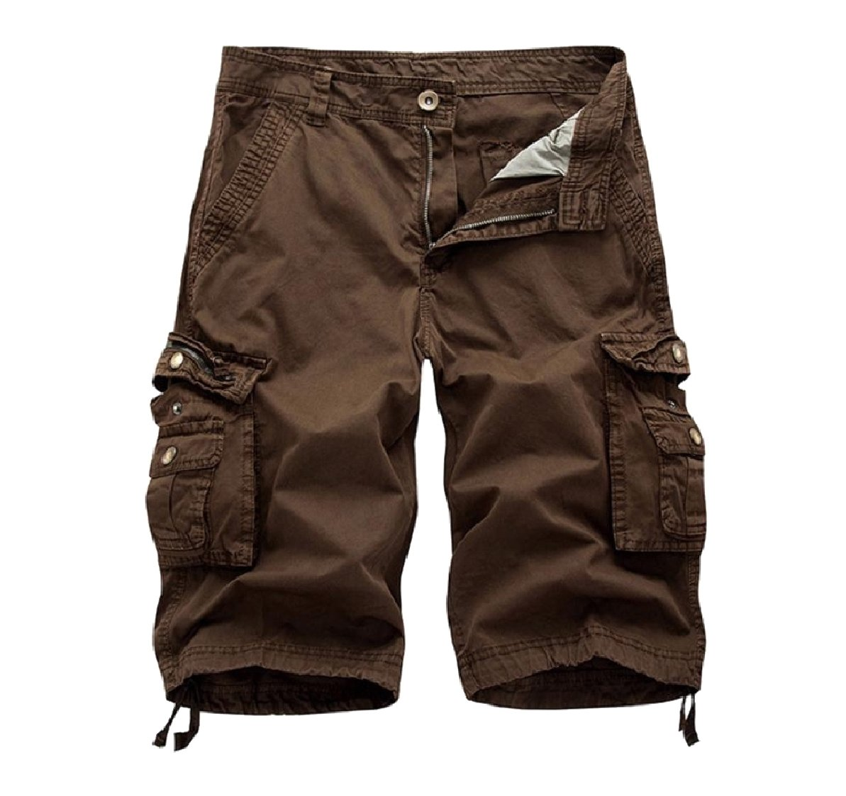 Comfy-Men Fine Cotton Pure Colour with Pockets Oversized Cargo Short Coffee 35