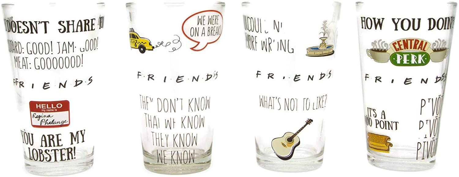 Silver Buffalo Friends Multi Quote Pint Glass Set, 16-Ounce, 4-Piece