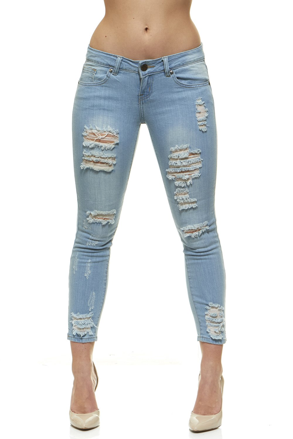 Ripped Slits Distressed Ankle Skinny Slim Fit Stretch Jeans for Women Size 3 / Light Blue Denim