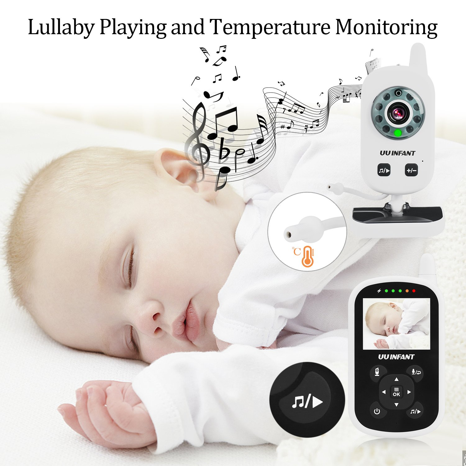 Baby Monitor, Video Baby Monitor with Camera- Wireless Video Monitor for Baby Safety- with Infrared Night Vision/Two Way Talkback/Temperature Monitor/Lullaby-Play (White) by UU Infant (Image #7)