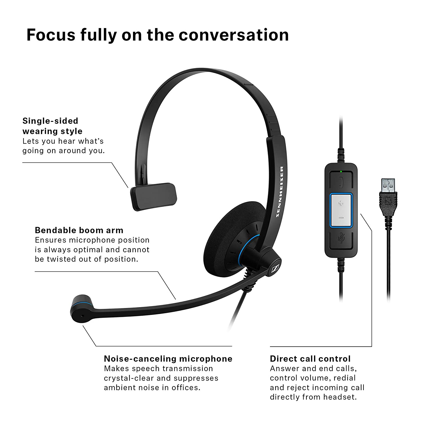63734130131 Amazon.com: Sennheiser SC 30 USB CTRL (505548) - Single-Sided Business  Headset | For Unified Communications | with HD Sound, Noise-Cancelling  Microphone, ...