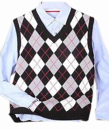 Generic Mens Fashion Checkered Slim V Neck Sleeveless Sweater ...