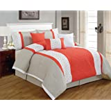 7 Pieces Luxury Coral Orange, Beige and White Quilted Comforter Set / Bed-in-a-bag Queen Size Bedding