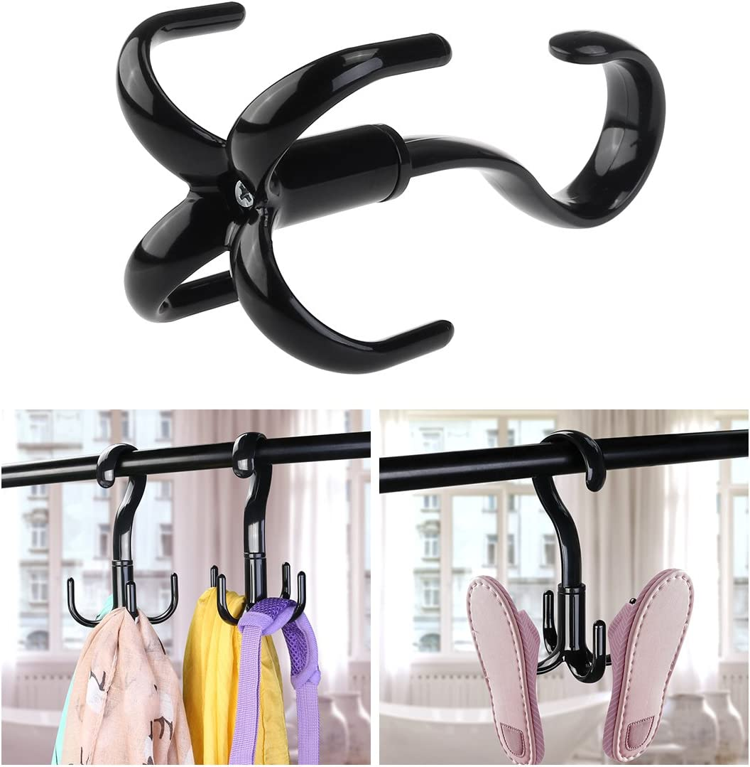 Belt Hanger Scarf Tie Rack Holder Hook Tie Hanger for Closet Organizer 360 Degree Rotating (Black)