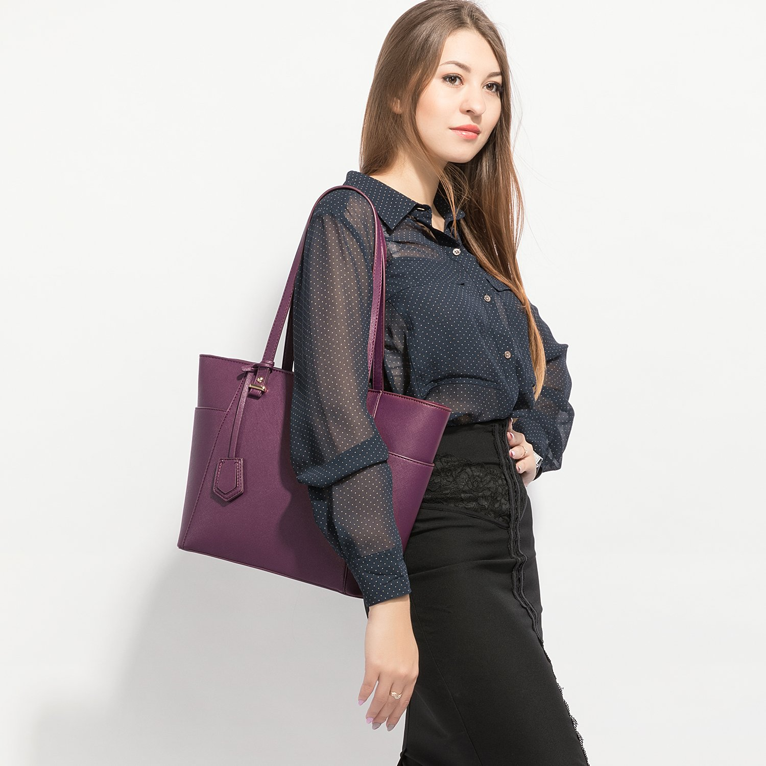 LOVEVOOK Women Purses and Handbags Chic Crossbody Bag Hobo 3pcs Large Capacity Purple by LOVEVOOK (Image #2)