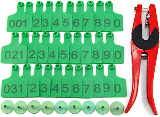 100PCS Small Pre Numbered Livestock Ear Tags for Pig Goat Sheep Tagging Red