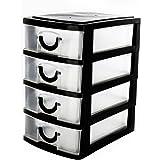 Organizer nero a 4cassetti mini da scrivania per ufficio in plastica con vassoi estraibili