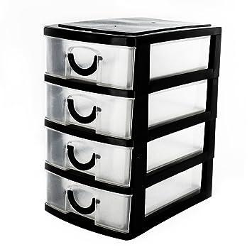 Negro 4 cajones Mini escritorio de almacenaje pequeña oficina organizador caja de plástico pequeño bandejas zizzi