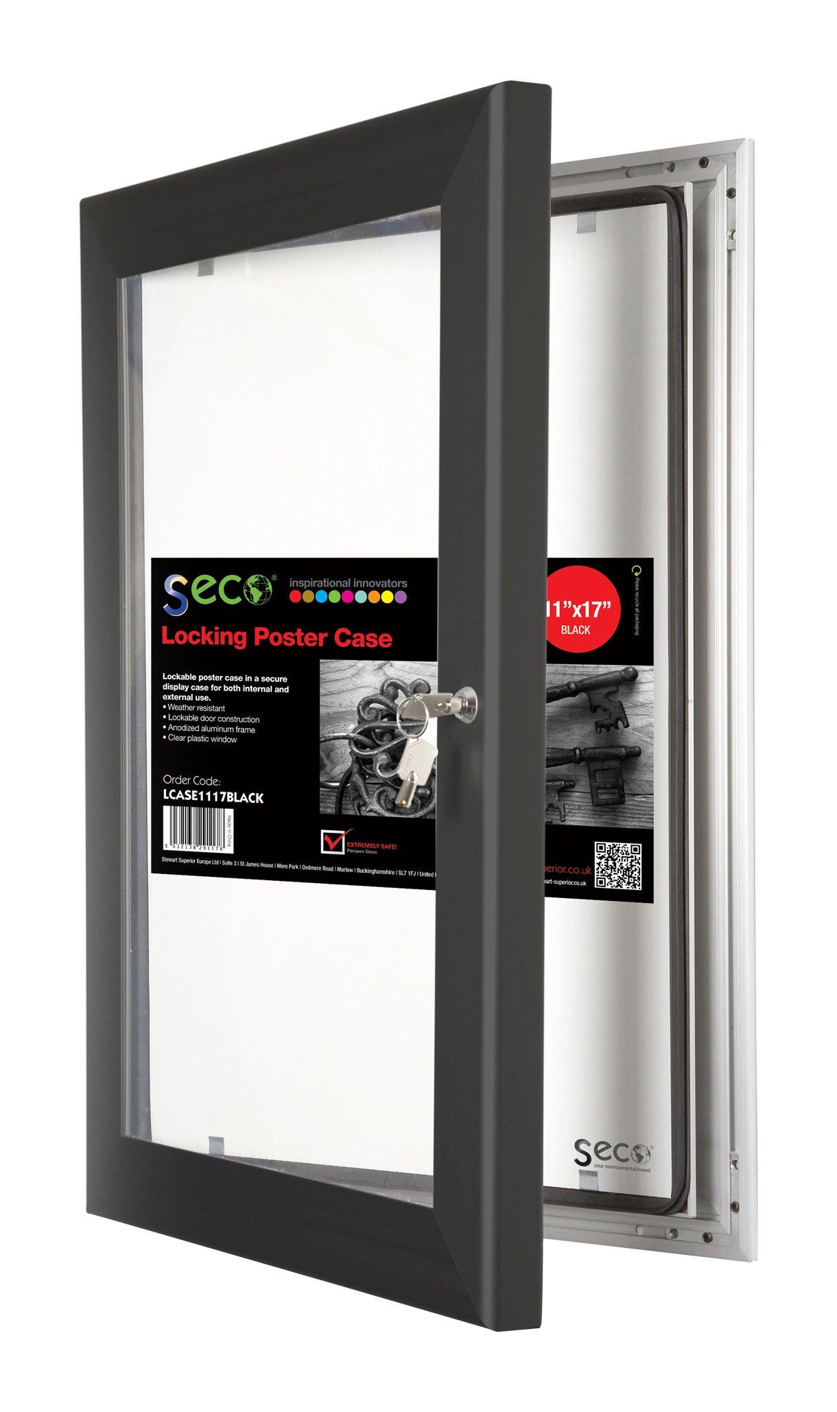 SECO Stewart Superior Locking Indoor/Outdoor Poster Case, Shatterproof, Rustproof,  11''x17'' in Black